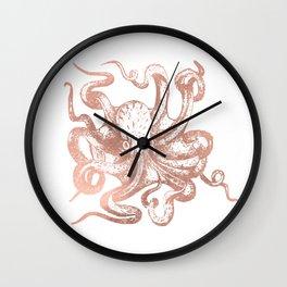 Rose Gold Octopus Wall Clock