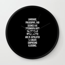 Language philosophy and science are interwoven into the design of words which are manipulated to create surprising illusions Wall Clock