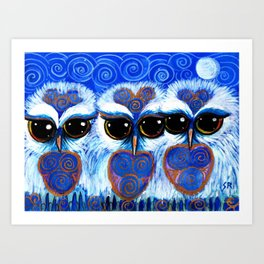 Children of the Moon, original Illustration from the Spirit Owl Series by Sheridon Rayment. Art Print