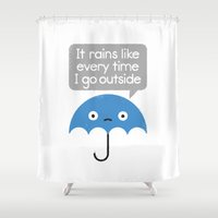 philosophy Shower Curtains featuring Umbrellativity by David Olenick