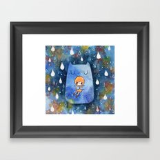 cat hug Framed Art Print