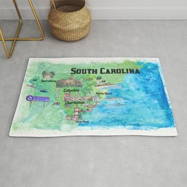 USA South Carolina State Travel Poster Map with Tourist Highlights Rug