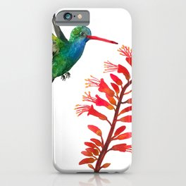 Broad-billed Hummingbird Watercolor iPhone Case