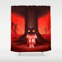 majora Shower Curtains featuring MAJORA MASK by Veylow