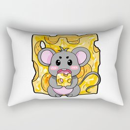 Mouse Cheese Party Cartoon Gift Present Boy Girl Rectangular Pillow
