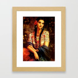 Jesus Helguera Painting of a Mexican Calendar Girl with Braids Framed Art Print