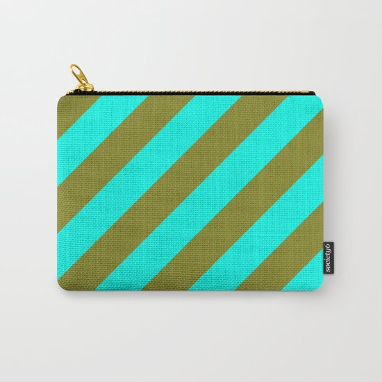 Cyan Blue And Army Khaki Green Stripes Carry-All Pouch