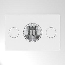 Brooklyn Bridge New York City (black & white triple badge style) Welcome Mat