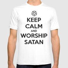 Keep Calm and Worship Satan White MEDIUM Mens Fitted Tee