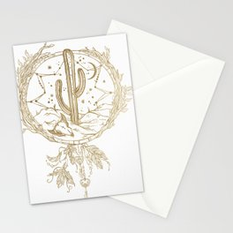 Desert Cactus Dreamcatcher in Gold Stationery Cards