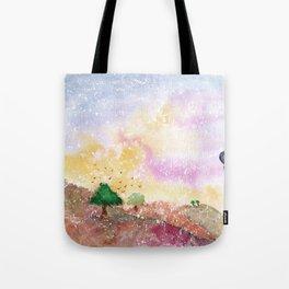 Mystical Landscape Watercolor. Tote Bag