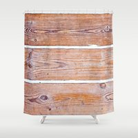wooden Shower Curtains featuring Wooden Boards by Patterns and Textures