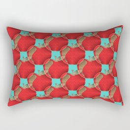 Colorful red apples on a teal background Rectangular Pillow
