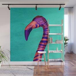 Striped Flamingo Zebra - Colorful Animal Art Print Wall Mural