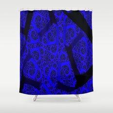 Cobalt Blue Fractal Abstract  Shower Curtain