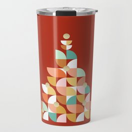 Retro Christmas Tree on Red Travel Mug
