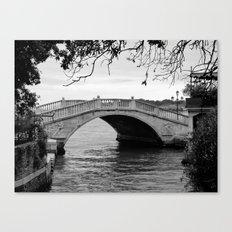 Venice bridge in black and white Canvas Print