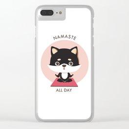 Yoga Shiba Inu Dog Clear iPhone Case