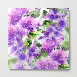 Lilac flowers. Watercolor lilac blossom. Violet florals. Metal Print