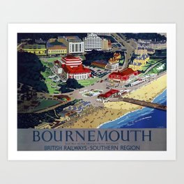 Bournemouth Travel Poster Art Print