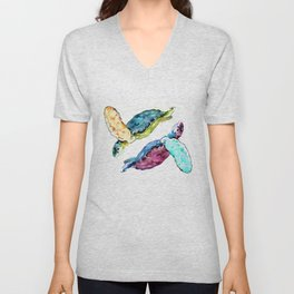 Sea Turtle, two turtles, family, love Unisex V-Neck