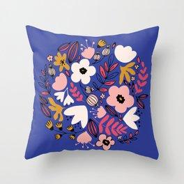Fantasy flowers on blue Throw Pillow