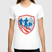 crossfit T-shirts featuring American Crossfit Runners USA Flag Retro  by patrimonio
