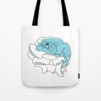 bookworm Tote Bags featuring Blue Bookworm  by Wynne Gettelfinger