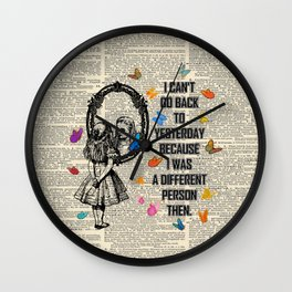 Alice In Wonderland Quote - Vintage Dictionary Page Wall Clock