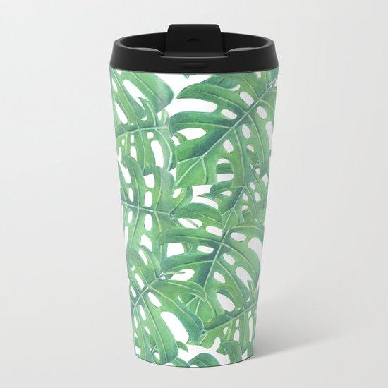 Green monstera tropical leaves pattern  on white background Metal Travel Mug