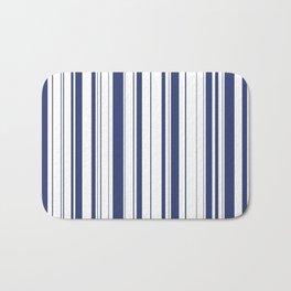 Minimalist Era - White & Indigo Blue Stripe Asymmetrical Bath Mat