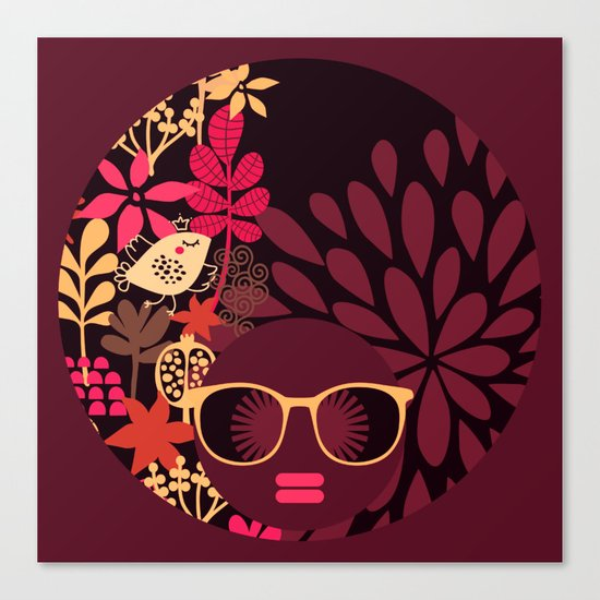 Afro Diva : Sophisticated Lady Deep Pink & Burgundy Canvas Print
