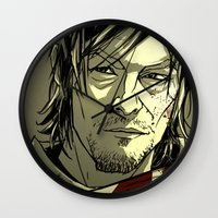 daryl dixon Wall Clocks featuring Daryl Dixon by David Cousens