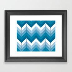 Herringbone - Blue Framed Art Print