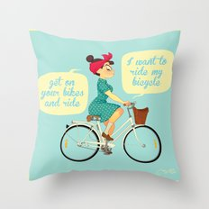 I want to ride my bike Throw Pillow