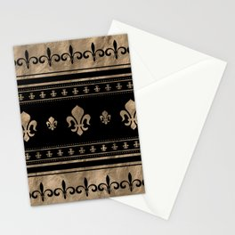 Fleur-de-lis Luxury ornament - black and gold Stationery Cards