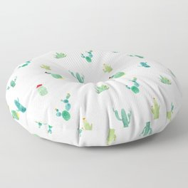 Summer pattern with cacti and yellow cats ! Floor Pillow