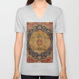 Indian Boho III // 16th Century Distressed Red Green Blue Flowery Colorful Ornate Rug Pattern Unisex V-Neck