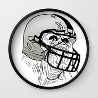 nfl Wall Clocks featuring American Football Gorilla by raeuberstochter