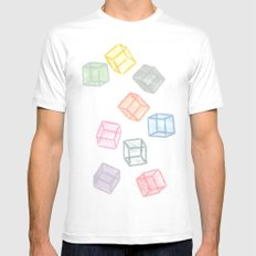 Cubes  MEDIUM White Mens Fitted Tee