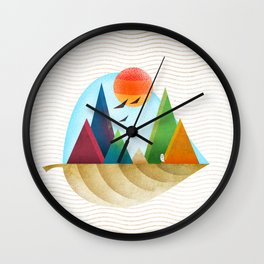 076 - Autumn leaf minimal landscape IV Wall Clock