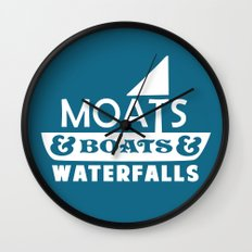 Moats and Boats and Waterfalls Graphic in Blue Wall Clock
