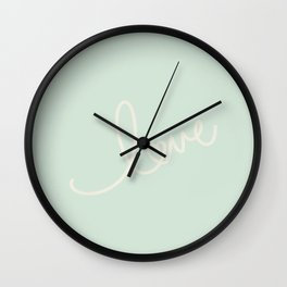 LOVE - Typography on mint green background Wall Clock