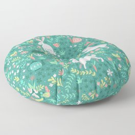 Spring Pattern of Bunnies with Turtles Floor Pillow
