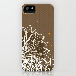 Brown Doodle Floral by Friztin iPhone Case