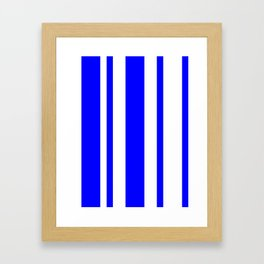 Mixed Vertical Stripes - White and Blue Framed Art Print