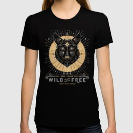 Wild & Free Wolf – Gold & Grey T-shirt