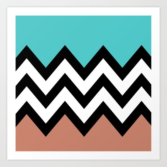 AQUA & DARK CORAL CHEVRON COLORBLOCK Art Print