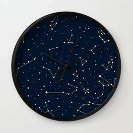 star zodiak space circle sky line light blue yellow Wall Clock