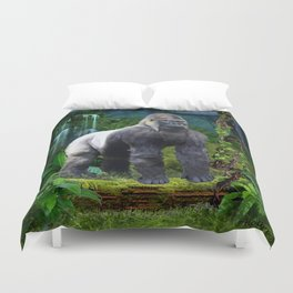 Silverback Gorilla Guardian of the Rainforest Duvet Cover